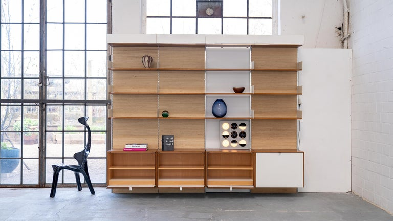 Florence Knoll, Rare Wall Unit, Teak & Seagrass, 1952 for Knoll International For Sale 11