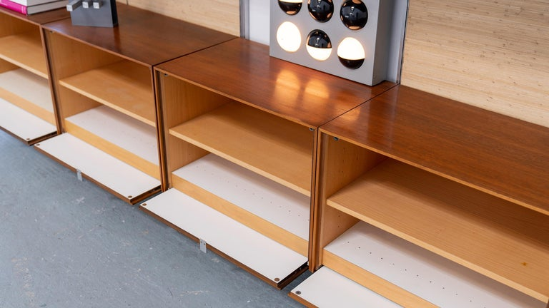 Florence Knoll, Rare Wall Unit, Teak & Seagrass, 1952 for Knoll International For Sale 12