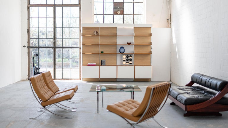 Mid-Century Modern Florence Knoll, Rare Wall Unit, Teak & Seagrass, 1952 for Knoll International For Sale