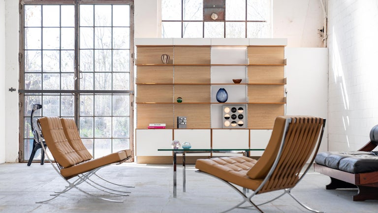 German Florence Knoll, Rare Wall Unit, Teak & Seagrass, 1952 for Knoll International For Sale