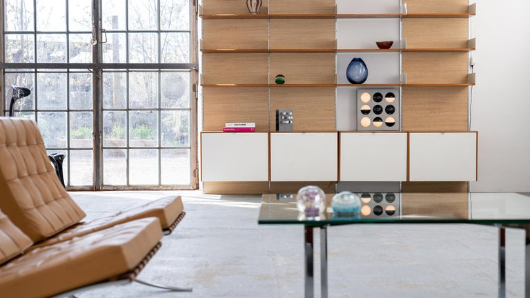Mid-20th Century Florence Knoll, Rare Wall Unit, Teak & Seagrass, 1952 for Knoll International For Sale