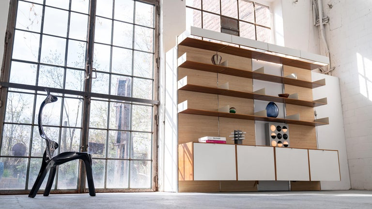 Florence Knoll, Rare Wall Unit, Teak & Seagrass, 1952 for Knoll International For Sale 1