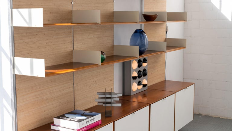 Florence Knoll, Rare Wall Unit, Teak & Seagrass, 1952 for Knoll International For Sale 2