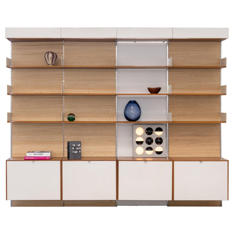 Florence Knoll, Rare Wall Unit, Teak & Seagrass, 1952 for Knoll International For Sale