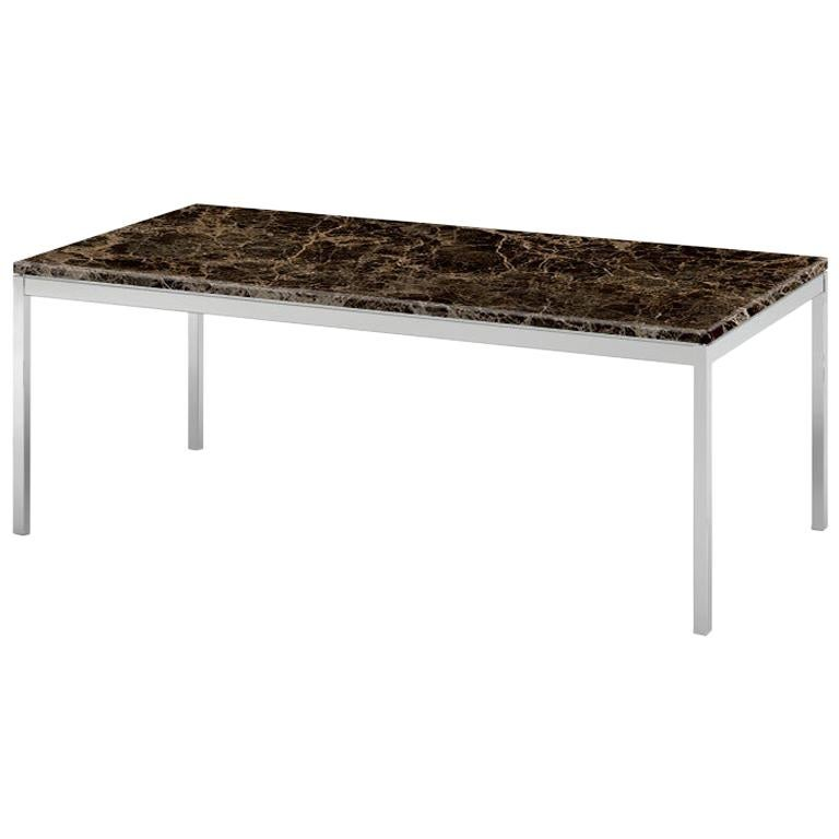 Florence Knoll Rectangular Coffee Table, Satin Emperador Dark Marble & Chrome  For Sale