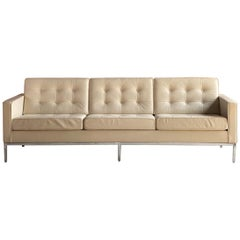 Florence Knoll Relax Leather Three-Seat Sofa by Knoll Studio