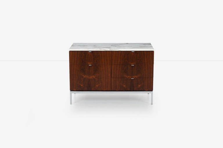 Mid-Century Modern Florence Knoll Rosewood Credenza with Marble Top For Sale
