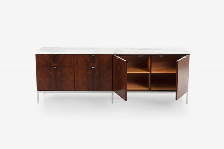 Italian Florence Knoll Rosewood Credenza with Marble Top For Sale