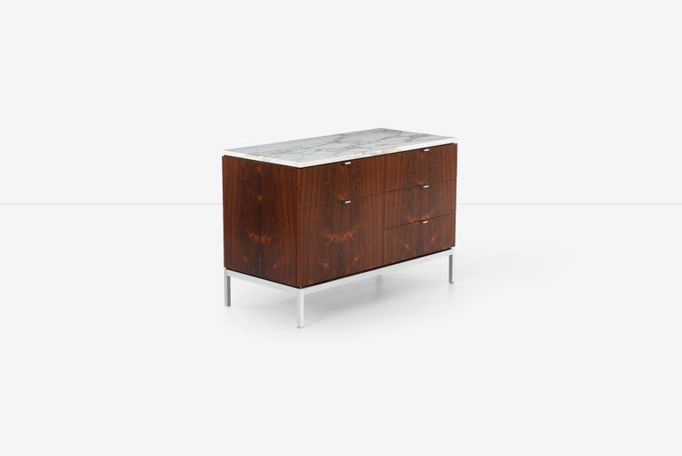 American Florence Knoll Rosewood Credenza with Marble Top For Sale
