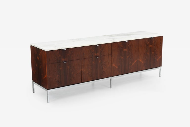 Mid-20th Century Florence Knoll Rosewood Credenza with Marble Top For Sale