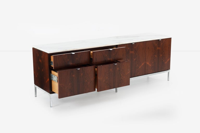 Chrome Florence Knoll Rosewood Credenza with Marble Top For Sale