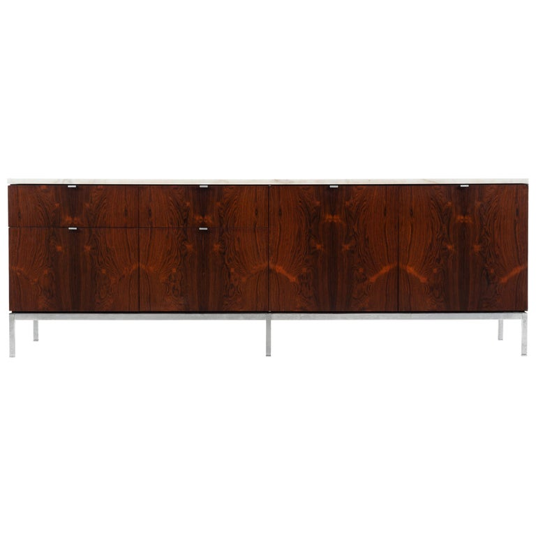 Florence Knoll Rosewood Credenza with Marble Top For Sale