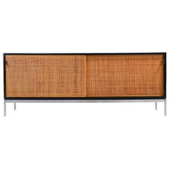 Florence Knoll Rosewood Credenza with Original Cane Doors and Leather Pulls