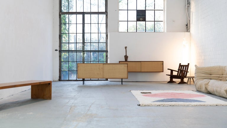 Mid-Century Modern Florence Knoll, Sideboard 1968 Seagrass Doors and Walnut by Knoll International