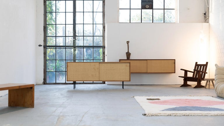 German Florence Knoll, Sideboard 1968 Seagrass Doors and Walnut by Knoll International