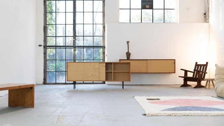 Florence Knoll, Sideboard 1968 Seagrass Doors and Walnut by Knoll International In Good Condition In Munster, NRW