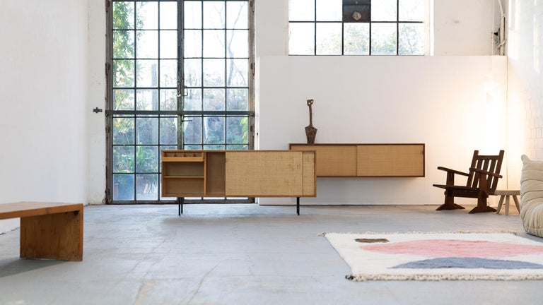 Mid-20th Century Florence Knoll, Sideboard 1968 Seagrass Doors and Walnut by Knoll International