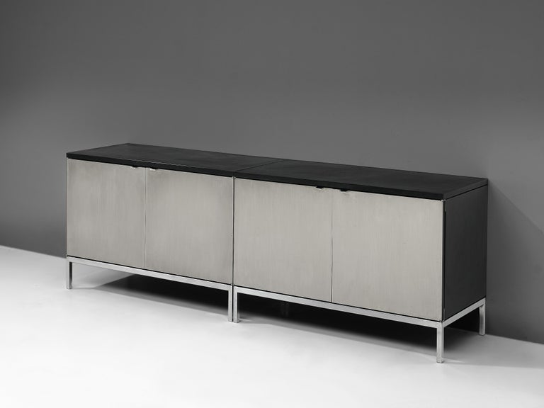 Florence Knoll Sideboards with Brushed Steel Doors For Sale 4