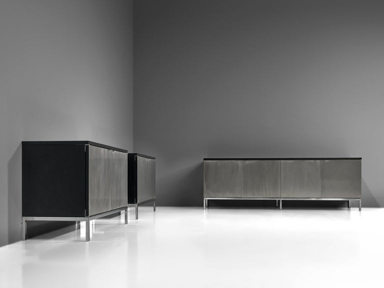 Florence Knoll Sideboards with Brushed Steel Doors For Sale 5