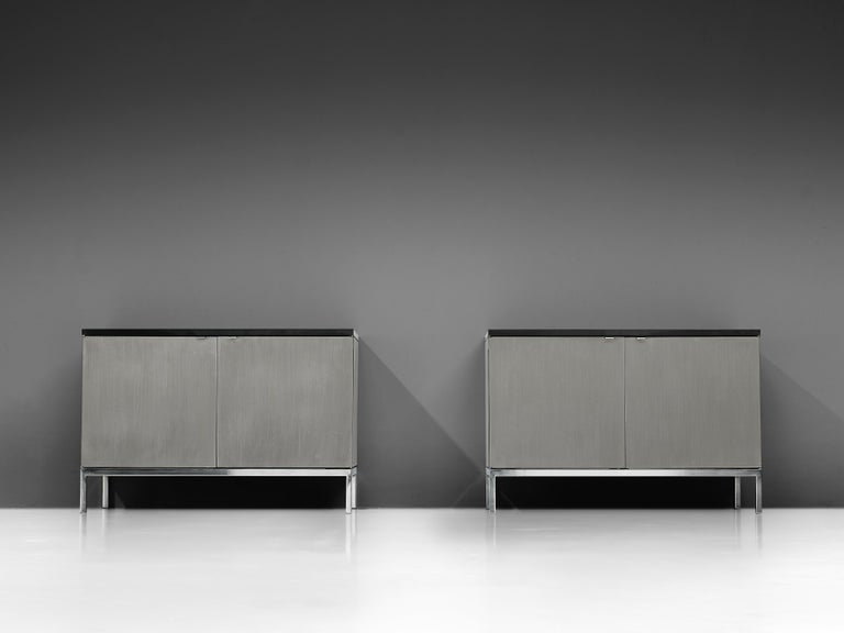 American Florence Knoll Sideboards with Brushed Steel Doors For Sale