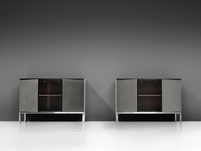 Mid-20th Century Florence Knoll Sideboards with Brushed Steel Doors For Sale