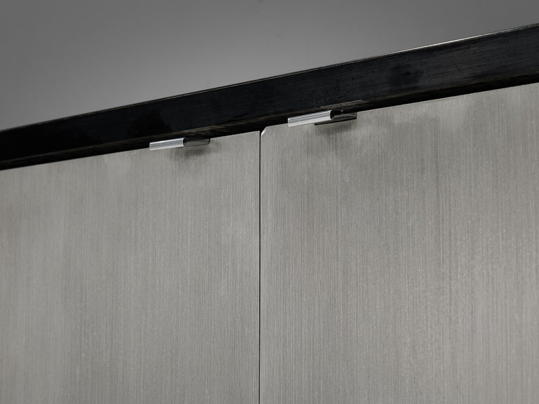 Florence Knoll Sideboards with Brushed Steel Doors For Sale 1