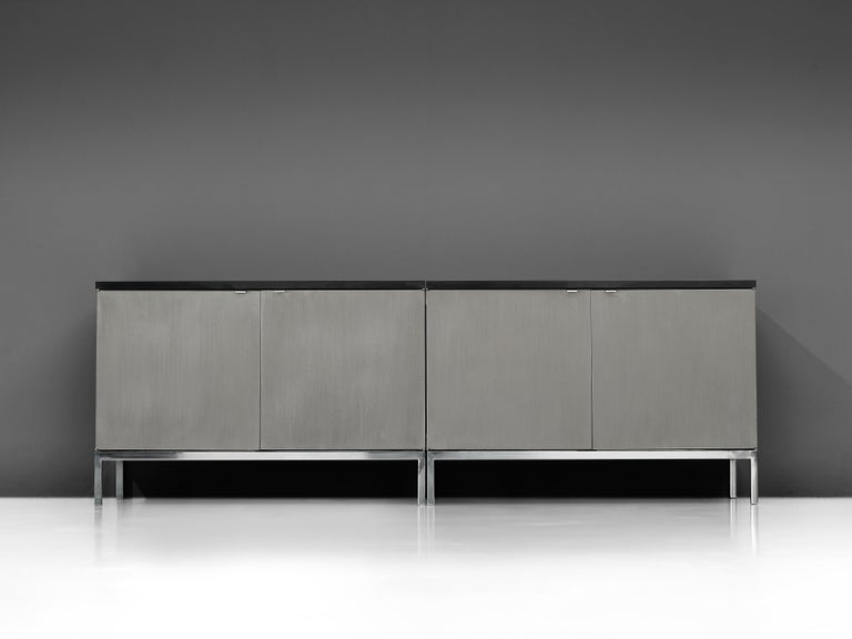 Florence Knoll Sideboards with Brushed Steel Doors For Sale 2