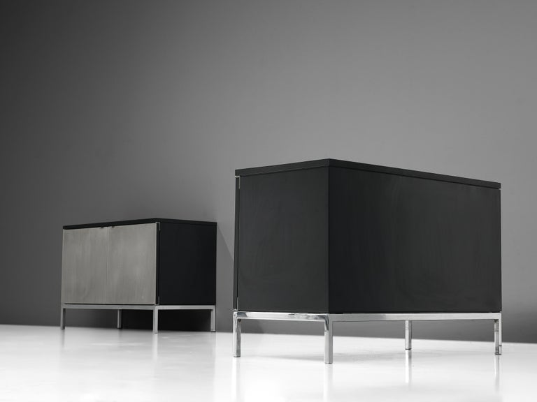 Florence Knoll Sideboards with Brushed Steel Doors For Sale 3