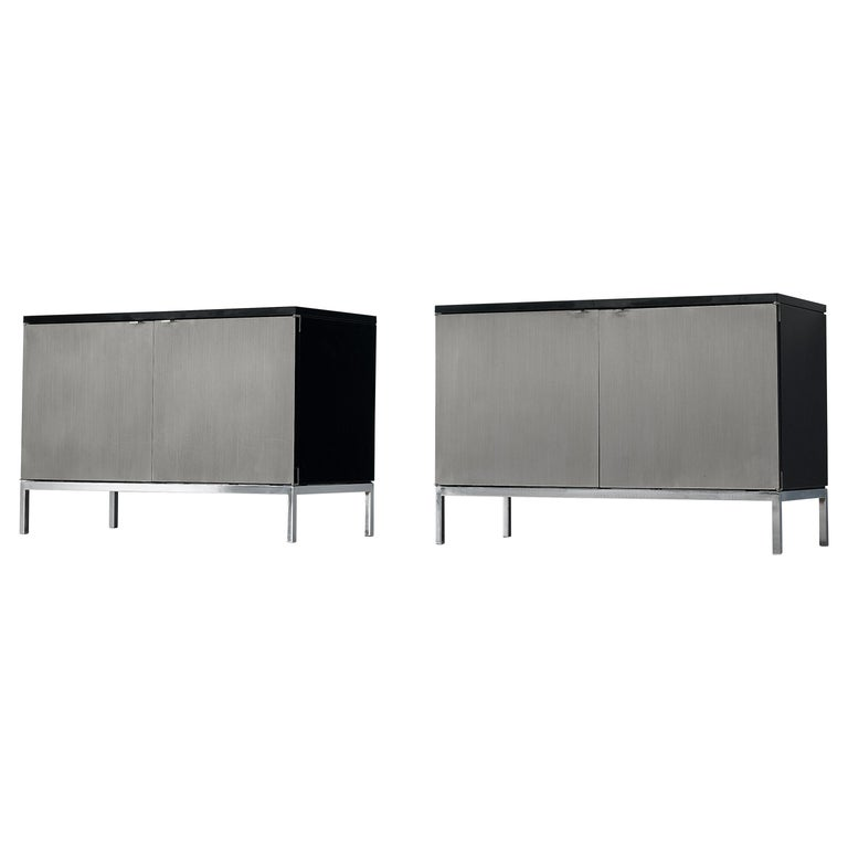 Florence Knoll Sideboards with Brushed Steel Doors For Sale