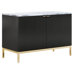 Florence Knoll Small Credenza, Ebonized Oak, Polished Arabescato & Gold Base
