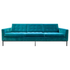 Florence Knoll Sofa, Teal Blue Green Velvet, Knoll International, New York, 1954