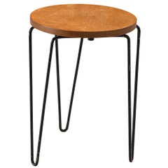 Florence Knoll Stool Model 75 in Birch and Metal