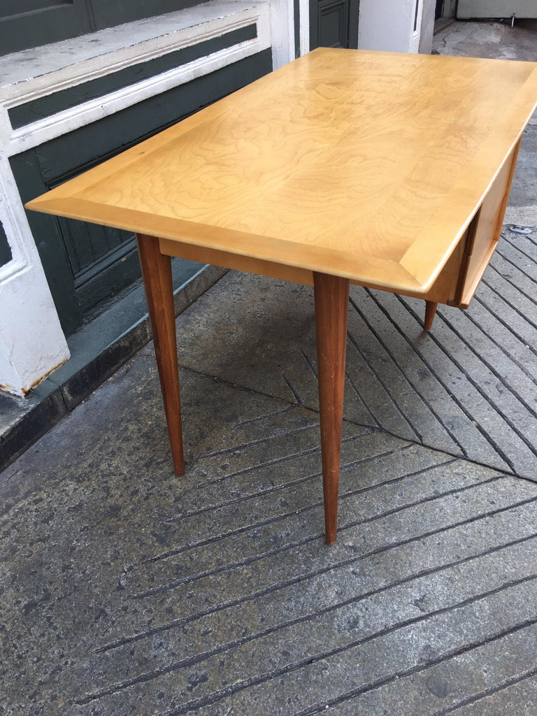 American Florence Knoll Style Birch and Walnut Desk For Sale