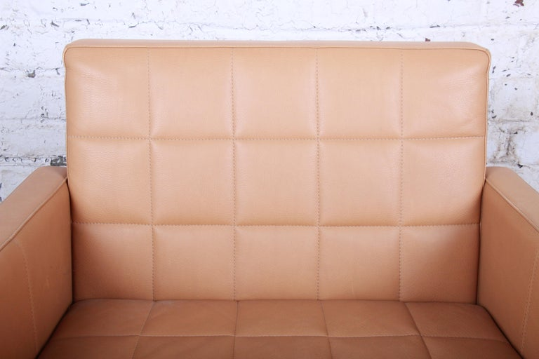 Florence Knoll Style Brown Leather Club Chairs by Coalesse, Pair For Sale 4