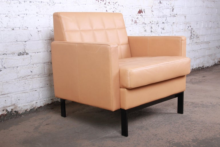 Florence Knoll Style Brown Leather Club Chairs by Coalesse, Pair For Sale 5