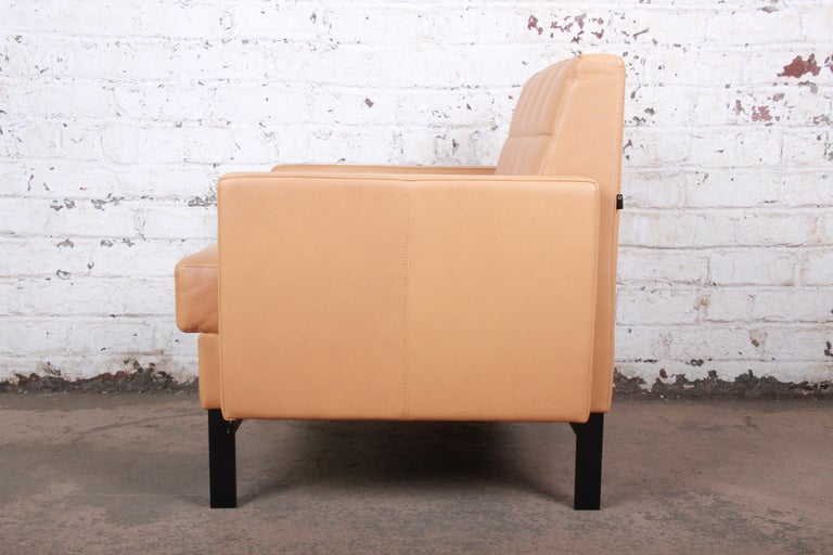 Florence Knoll Style Brown Leather Club Chairs by Coalesse, Pair For Sale 6