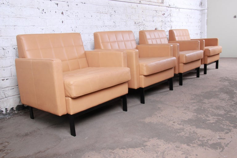 Florence Knoll Style Brown Leather Club Chairs by Coalesse, Pair For Sale 10