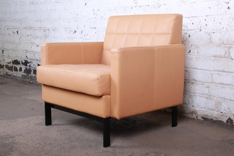 Modern Florence Knoll Style Brown Leather Club Chairs by Coalesse, Pair For Sale