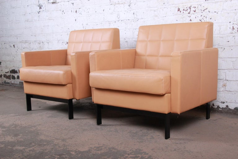American Florence Knoll Style Brown Leather Club Chairs by Coalesse, Pair For Sale