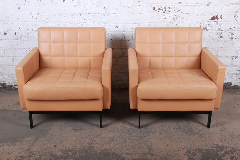 Late 20th Century Florence Knoll Style Brown Leather Club Chairs by Coalesse, Pair For Sale