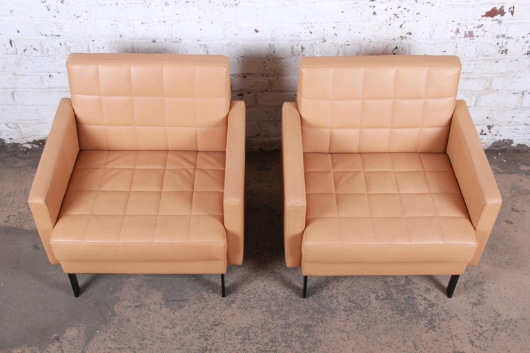 Metal Florence Knoll Style Brown Leather Club Chairs by Coalesse, Pair For Sale