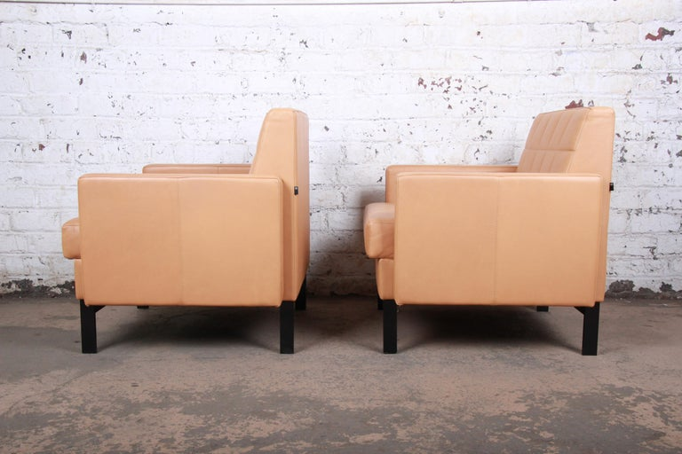 Florence Knoll Style Brown Leather Club Chairs by Coalesse, Pair For Sale 1