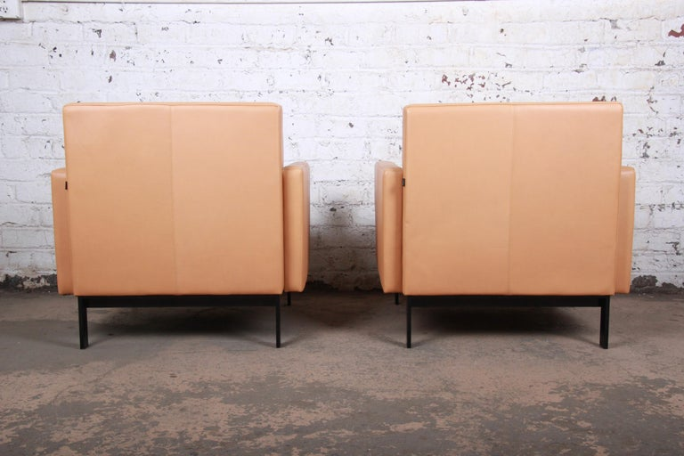 Florence Knoll Style Brown Leather Club Chairs by Coalesse, Pair For Sale 2