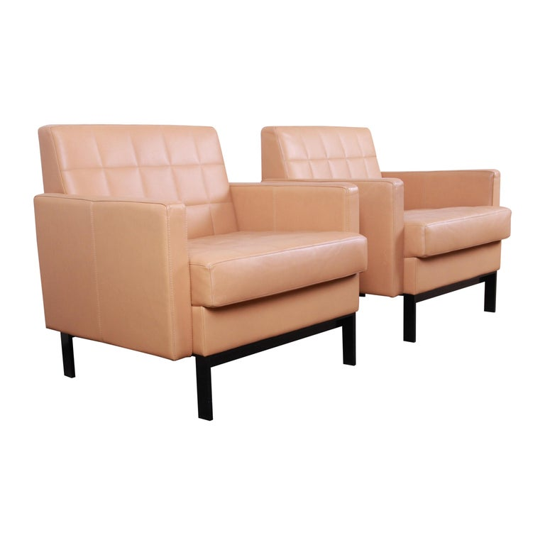 Florence Knoll Style Brown Leather Club Chairs by Coalesse, Pair For Sale