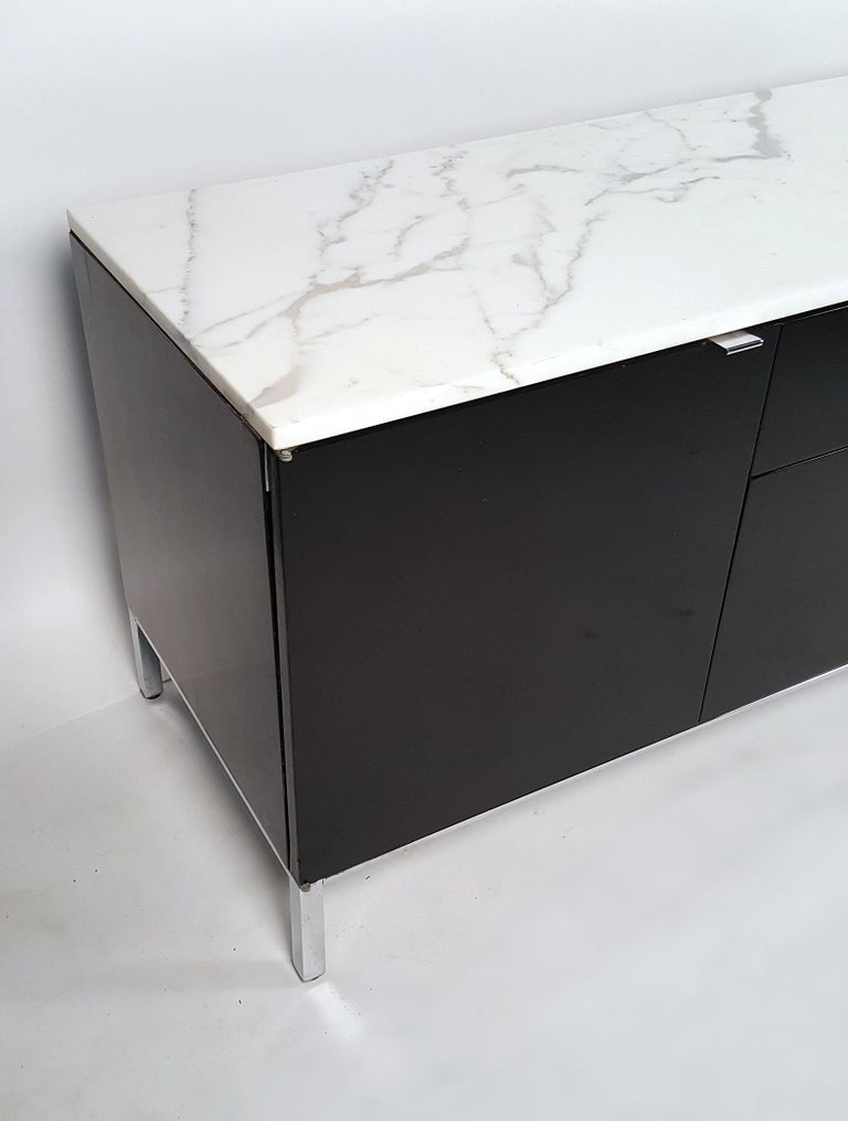 Steel Florence Knoll Style Credenza with Matching File Cabinet by by Giacomo Buzzitta For Sale
