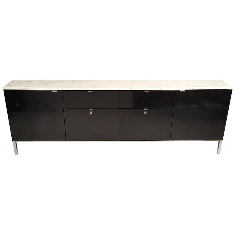 Florence Knoll Style Credenza with Matching File Cabinet by by Giacomo Buzzitta For Sale