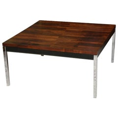 Florence Knoll Style Solid Brazilian Rosewood Staved and Chrome Table