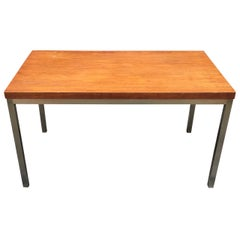 Florence Knoll Style Teak and Aluminum Coffee Table