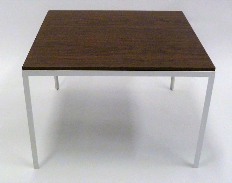 Florence Knoll T Angle Walnut Wood Grain Laminate Top Table for Knoll For Sale 7