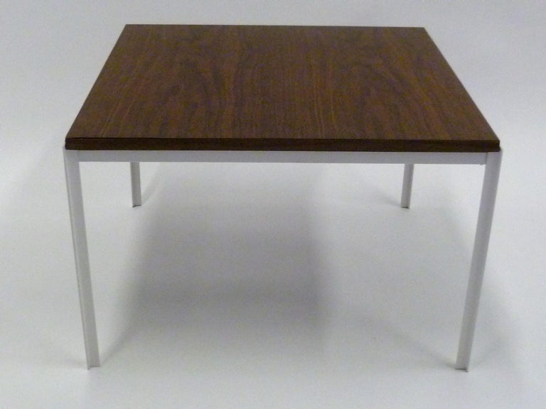 Mid-Century Modern Florence Knoll T Angle Walnut Wood Grain Laminate Top Table for Knoll For Sale